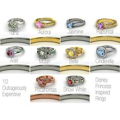 Disney princess inspired rings, Aurora and Rapunzel are my favorite!