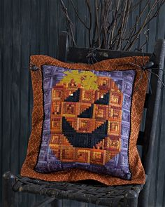 Ghastly Glow quilted pillow:  Bewitched Threads Halloween projects at Need'l Love