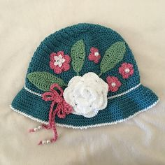 Girls Hat Toddler Girls Hat Teal Crochet Hat by AZenCreation