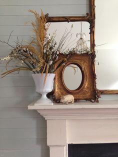 Farmhouse mantel detail Late Summer #milkglass urn Quince Cottage ©Rhiann Wynn-Nolet