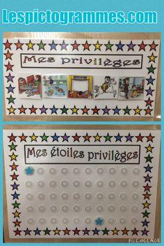 Tableau d'accumulation d'étoiles pour des privilèges. Chaque bon comportement se mérite une étoile. Ensuite quand les 50 étoiles sont sur le tableau l'enfant se choisi un privilège (piscine, cinéma, restaurant etc )