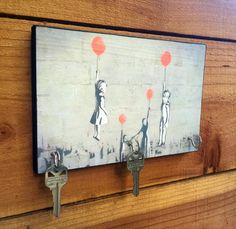 "BANKSY Key Holder ""Stand with Victims of Syria"" Key Holder & Wood Mounted Wall. Art Graffiti Art."