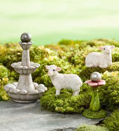 What's a fairy garden without grazing sheep and decorative fountains? Add this fun, resin Sheep and Fountains set to your fairy garden display, giving it a beautiful enhancement!