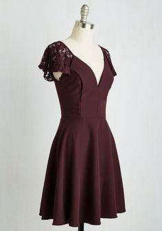 Festive Flutter Dress in Bordeaux | Mod Retro Vintage Dresses | ModCloth.com