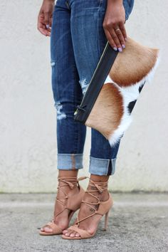 Awesome lace-ups & a statement clutch. (Via StyleLust Pages: Blush Pink & Vintage) Clutch available here: http://lovecortnie.com/products/springbok-calf-hair-leather-statement-clutch-2/
