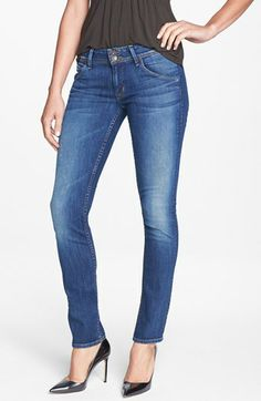 Dimensional fading and signature triangle-flap pockets style these slender skinny jeans cut from classic true-blue denim. Color(s): pennyroyal tea. Brand: Hudson Jeans. Style Name: Hudson Jeans 'Nicole' Skinny Ankle Jeans (Pennyroyal Tea). Style Number: 958164.