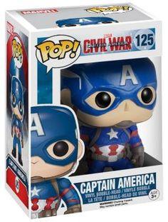 """Captain America Civil War - Funko Pop! - Captain America  - figurine de collection - hauteur : env. 10 cm - figurine en vinyle No. 125 - tête qui bouge  Attrapez-les tous! Les figurines collectors Funko-Pop! sont vraiment géniales. Que vous les placiez sur votre bureau, dans votre voiture, sur une étagère ou dans la salle de bains : emmenez vos figurines super-héros Funko Pop! avec vous où que vous alliez. Parfait pour votre collection.  Avec des films comme """"Captain America - The First ..."""