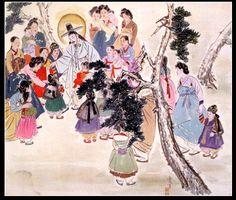 """Jesus receives the little children"" circa 1952 by Woonbo Kim Ki-chang Christian Paintings, Christian Art, Jesus Crist, Buddhist Wisdom, St Joan, Biblical Art, Mary And Jesus, Korean Art, The Kingdom Of God"