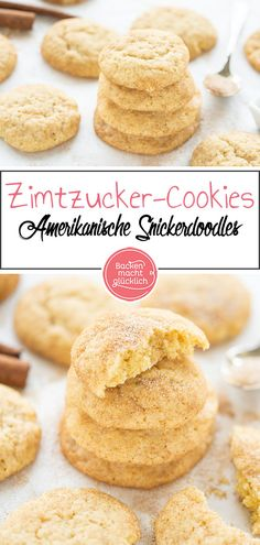 If you don't know snicker doodles yet, you should change that as soon as possible: Because the soft cinnamon cookies from the USA are incredibly delicious, even if the sugar-cinnamon biscuits look Vegan Breakfast Recipes, Vegan Desserts, Raw Food Recipes, Baking Recipes, Cookie Recipes, Dessert Recipes, Cinnamon Biscuits, Cinnamon Cookies, Yummy Cookies