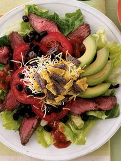 Santa Fe Beef Salad - Dress it up with your favorite Maple Grove Farms dressing. Avocado Dessert, Avocado Dip, Healthy Cooking, Healthy Eating, Cooking Recipes, Healthy Lunches, Healthy Food, Avocado Recipes, Healthy Salad Recipes