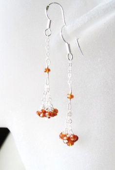 Faceted Mandarin Garnet Earrings by Created2Inspire on Etsy, $35.00