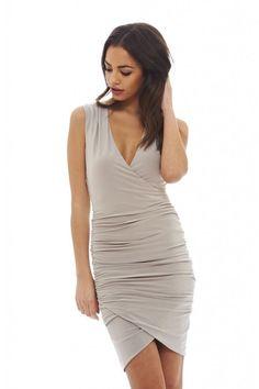 AX Paris Womens Grey Sleevless V Front Slinky Dress Glamorous Stylish Fashion