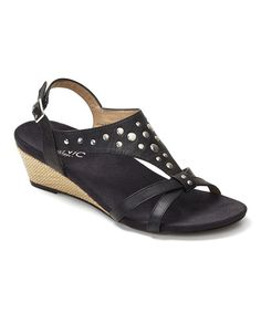 949a0e4b0a0af Black Catarina Leather Sandal by Vionic with Orthaheel Technology