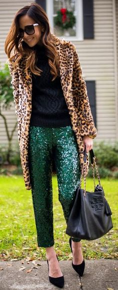 Camel Leopard Faux Fur Coat by Sequins & Things