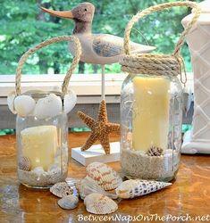 Charming DIY Coastal Beach Candle Lanterns - Coastal Decor Ideas and Interior Design Inspiration Images Seashell Crafts, Beach Crafts, Summer Crafts, Diy Crafts, Seashell Candles, Seashells, Decor Crafts, Mason Jar Lanterns, Candle Lanterns