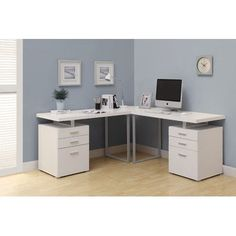 Latitude Run Schmidtke L Shape Corner Desk Color White
