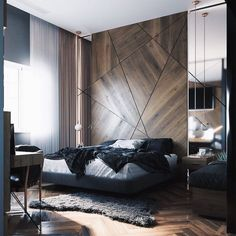 I like this patterned wall because it's minimal and doesn't have a lot of lines incorporated throughout. Master Bedroom Interior, Bedroom Bed Design, Modern Bedroom Design, Modern Interior Design, Interior Design Inspiration, Interior Architecture, Bedroom Decor, Appartement Design, Apartment Interior Design