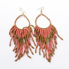 1pair Dangling Glass Beads Tassel Earrings Alloy Earrings Hooks Women Jewelry