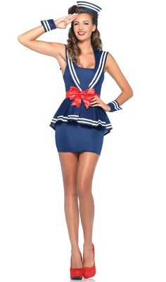 "<p>Rock the boat at your next <a title=""Sailor Costumes and Accessories"" href=""http://www.heavencostumes.com.au/shop-by/character-themes/sailor-costumes.html"" target=""_self"">sailor fancy dress costume</a> party in this cute <strong>1940's sailor women's costume</strong> by Leg Avenue. Command your crew and sail the night away in this marine themed Navy sailor girl sexy costume! See below for full description and size details.</p>"