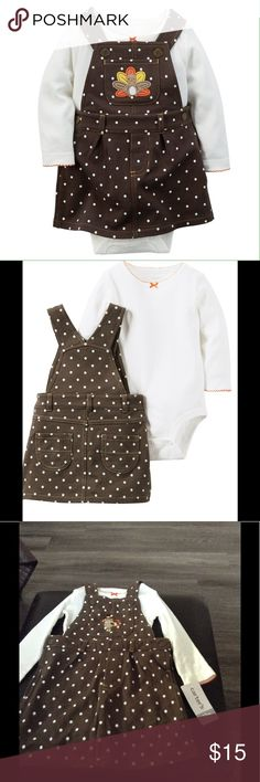 Carter's Thanksgiving 2-piece Jumper Set 12m $28 Carter's Thanksgiving 2-piece Jumper Set (12 months, ivory) $28  With a cute Thanksgiving turkey and polka dots, this comfy little jumper is perfect for the Thanksgiving day parade. 2-piece set Nickel-free snaps on reinforced panel Thanksgiving turkey appliqué Carter's Dresses Casual