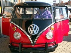 "RARE VW T1 1974 KOMBI BUS  13 Win - 6 doors ""TAXI"" 1500 Bicolor: BLACK / RED Interior bicolor : Black/ Red"