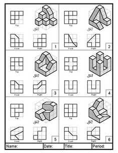 This worksheet provides 6 intermediate practice problems for isometric drawing practice. It is intended to be used in a series along with Isometric Practice Drawing One, but could be used as a stand alone assignment. Isometric Drawing Exercises, Isometric Art, Perspective Drawing Lessons, Perspective Art, Chest Exercises, Band Exercises, Facial Exercises, Abdominal Exercises, Stretching Exercises