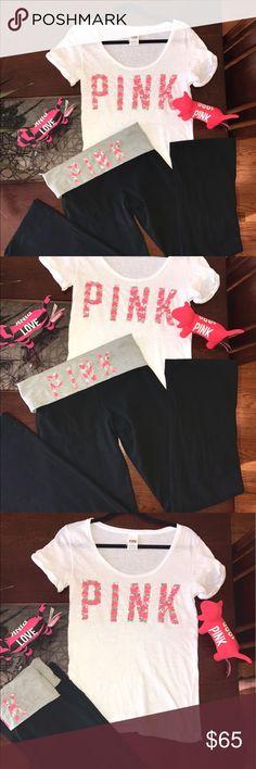 Victoria's Secret Pink chevron bling yoga set Rare hard to find!!! Victoria's Secret pink bling chevron t shirt and yoga pants set. PINK Victoria's Secret Pants Leggings