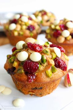 Cranberry orange muffin recipe with pistachios and white chocolate
