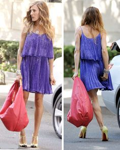 Carrie Bradshaw - Sex in the City.  Purple $435 Halston Heritage cocktail dress, Jee Vice's $170 Heated shades in orange, Christian Louboutin's $865 Gino T-strap heels and $1,795 large Sylvia hobo bag.
