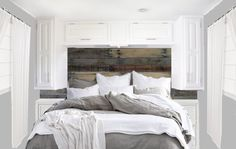 What I want the bedroom to look like. Pallet headboard, white cabinets, airy white curtains, and neutral but luxurious bedding