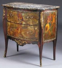 A Louis XV/XVI mahogany and bronze-mounted commode, circa 1770. Retaining a serpentine gris de St. Anne period marble top, the conforming case now having painted panels (after Fragonard), two deep drawers on restrained cabriole legs joined by scrolled apron.