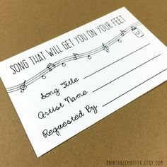 Wedding Song Request Card - Design #1 - Rustic Mason Jar Lights - Instantly Downloadable and Editable File - Invitation by PrintableMatter, $8.00