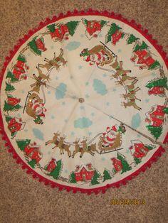 Vintage Christmas Tree Skirt ~ Red Felt w/ White Reindeer ...