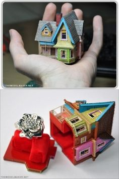 """OMG!!! The cutest ring box ... The house from the movie """"Up"""""""