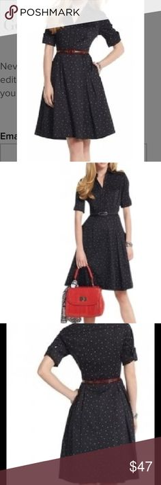 White House | Black Market Black Polka Dot Dress 50's Inspired shirt dress fashioned with chest pockets, elbow-length sleeves and a lined pleated skirt with hidden pockets. 100% Cotton. Machine wash or dry clean.   Accessories shown are NOT included. Worn once. White House Black Market Dresses