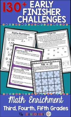 I love having these enrichment math tasks at my fingertips and ready to go! They are just what I need for those students who finish assignments fast and need challenges. Also great for my morning work, math warm-ups, math centers, collaborative work, and Fun Math, Math Games, Math Activities, Maths, Math Skills, Math Lessons, Math Early Finishers, Fast Finishers, Math Enrichment