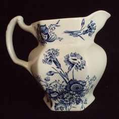Vintage Enoch Woods Pitcher Caronia transferware Ironstone blue & white