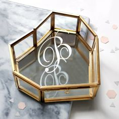 Personalised glass heart jewellery box with initial | hardtofind.