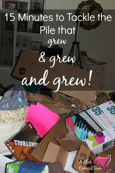 Tackling the Pile that Grew and Grew and GREW!! at ASlobComesClean.com