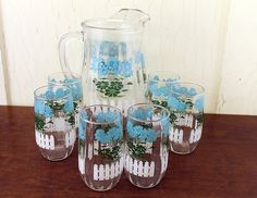 Pitcher and Six Glasses w/Blue and Green by LittleRedHenONLINE,