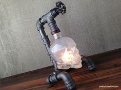 Crystal Head Vodka Lamp - Skull Light - Steampunk - Industrial Style Furniture