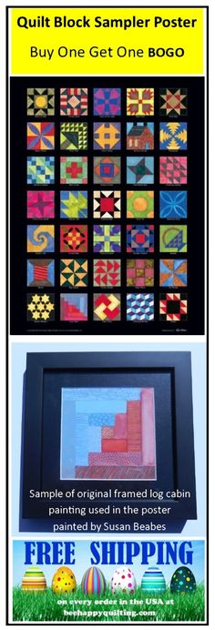 "Add art and color to your quilt room or any room in your house! Hand-dyed and printed ""fabrics"" are composed in original guache (opaque watercolor painted by Susan Beabes), providing interest and detail to 36 quilt blocks. The name of each quilt block is displayed below each block. The Quilt Block Sampler poster is printed using museum-quality 80-pound acid free paper and fits an 18"" x 24"" standard frame (not included). This is a BEE HAPPY QUILTING original."