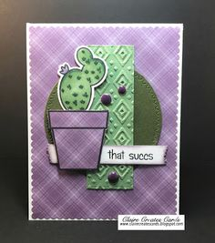 handmade card from Claire Creates Cards ... cactus in a pot ... luv how she used the purple and green from the Sunday Stamps Color Challenge 149 ...