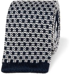 patterned knitted silk tie
