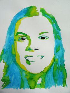 Creatief talent @ SASK!: Zelfportret - ingeschilderd met verdunde ecoline, in tinten van een kleur