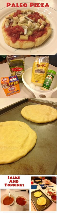 """Wheat free pizza Paleo Pizza """"Ingredients: 2 Eggs 2 C. Almond Flour 3 T. Olive Oil t. Baking soda 1 t. Garlic Powder any herbs you would like to add to crust"""" paleo diet autoimmune Pizza Paleo, Pizza Sans Gluten, Gluten Free Pizza, Low Carb Pizza, Gluten Free Baking, Gluten Free Recipes, Dairy Free, Tzatziki, Gluten Free Frozen Meals"""