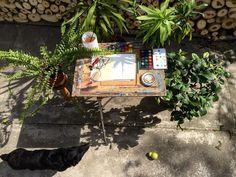Garden Studio #🍃 #gardenstudio #mydog🐾 #plant #green #moment #wood #home #happyeaster🐰 #watercolour #akvarelle #akvarellmålning #paper #水彩画 #studio #garden #felhőbogyó