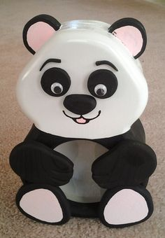 "Panda Bear Bank - 8"" x 9"" custom panda bear coin bank."