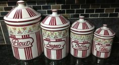 #Kitchen cannister set #ceramic 4 pc flour #sugar coffee tea red stripes flowers,  View more on the LINK: http://www.zeppy.io/product/gb/2/151942129771/