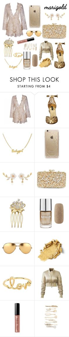 """the goldie look"" by idc-rachell ❤ liked on Polyvore featuring Dolce&Gabbana, Rifle Paper Co, Glint, Forever 21, Linda Farrow, Sydney Evan, Bobbi Brown Cosmetics and Red Camel"
